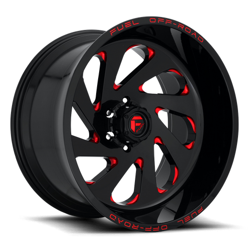 FUEL D638 VORTEX hliníkové disky 12x22 8x165,1 ET-44 GLOSS BLACK RED TINTED CLEAR