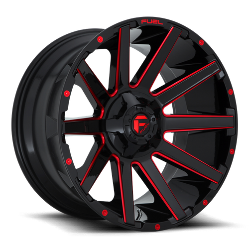 FUEL D643 CONTRA hliníkové disky 10x22 8x165,1 ET-18 GLOSS BLACK RED TINTED CLEAR