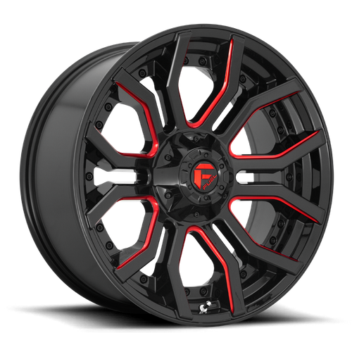FUEL D712 RAGE hliníkové disky 9x20 5x127-139,7 ET1 GLOSS BLACK RED TINTED CLEAR