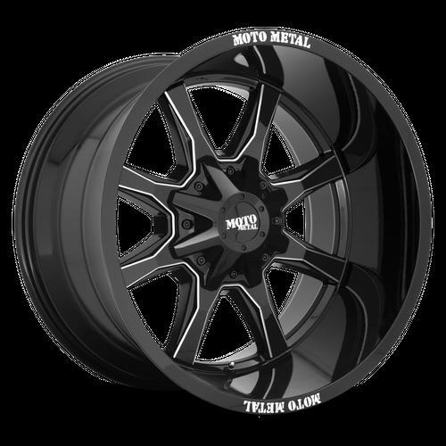 MOTO METAL MO970 hliníkové disky 10x20 8x180 ET-18 Gloss Black With Milled Spoke & Moto Metal On Lip