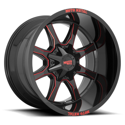 MOTO METAL MO970 hliníkové disky 9x20 8x165,1 ET0 Gloss Black Milled With Red Tint & Moto Metal On Lip