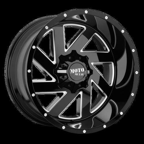 MOTO METAL MO988 MELEE hliníkové disky 9x20 5x127-139,7 ET18 Gloss Black Milled