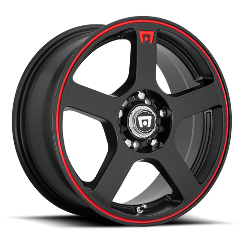 MOTEGI MR116 FS5 hliníkové disky 6,5x15 5x100-114,3 ET40 Matte Black Red Racing Stripe