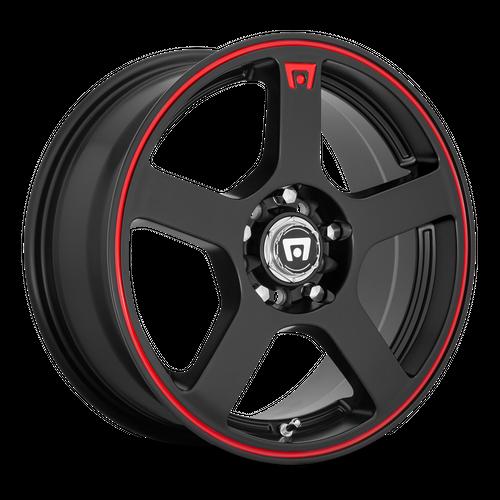 MOTEGI MR116 FS5 hliníkové disky 7x16 5x108-114,3 ET40 Matte Black Red Racing Stripe