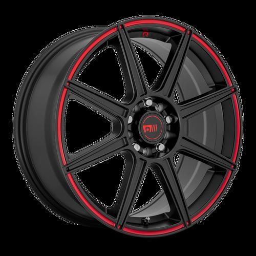 MOTEGI MR142 CS8 hliníkové disky 6,5x15 4x100-108 ET40 Satin Black With Red Stripe